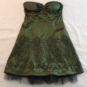 Strapless Patterned Dark Green Dress